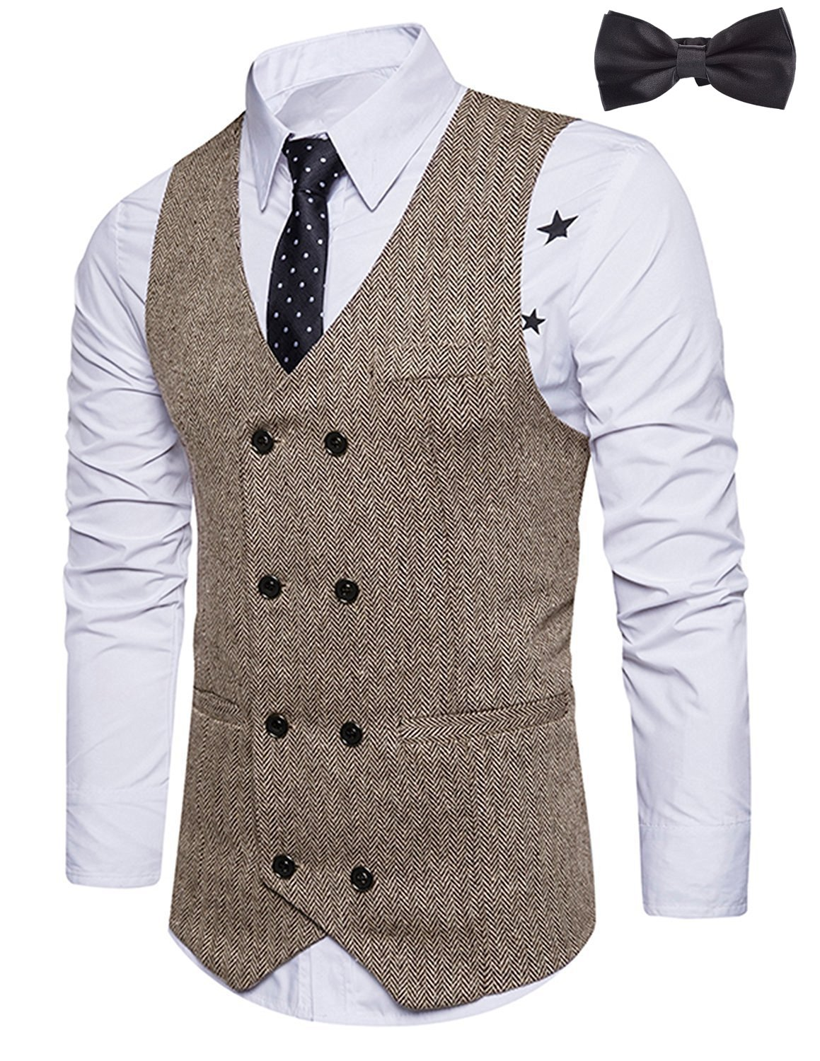 Sitengle Men's Formal Vest V-Neck Double-Breasted Suit Waistcoat Khaki XL