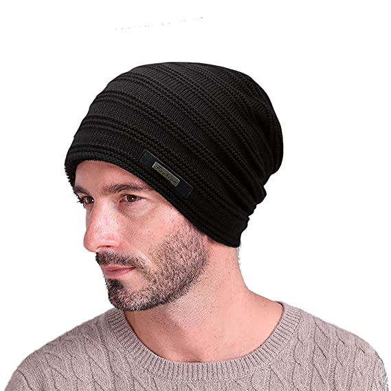 feb08de0 EINSKEY Mens Beanie Hat Winter Thick Fleece Lining Skull Cap Warm Knitted  Hat Black