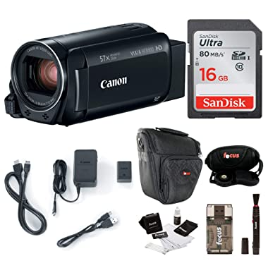 Canon VIXIA HF R800: 1080p HD Video 57x Zoom Camcorder Bundle with 16GB SD Card Video Camera Case and Cleaning Kit - Compact and Affordable Camcorder Kit