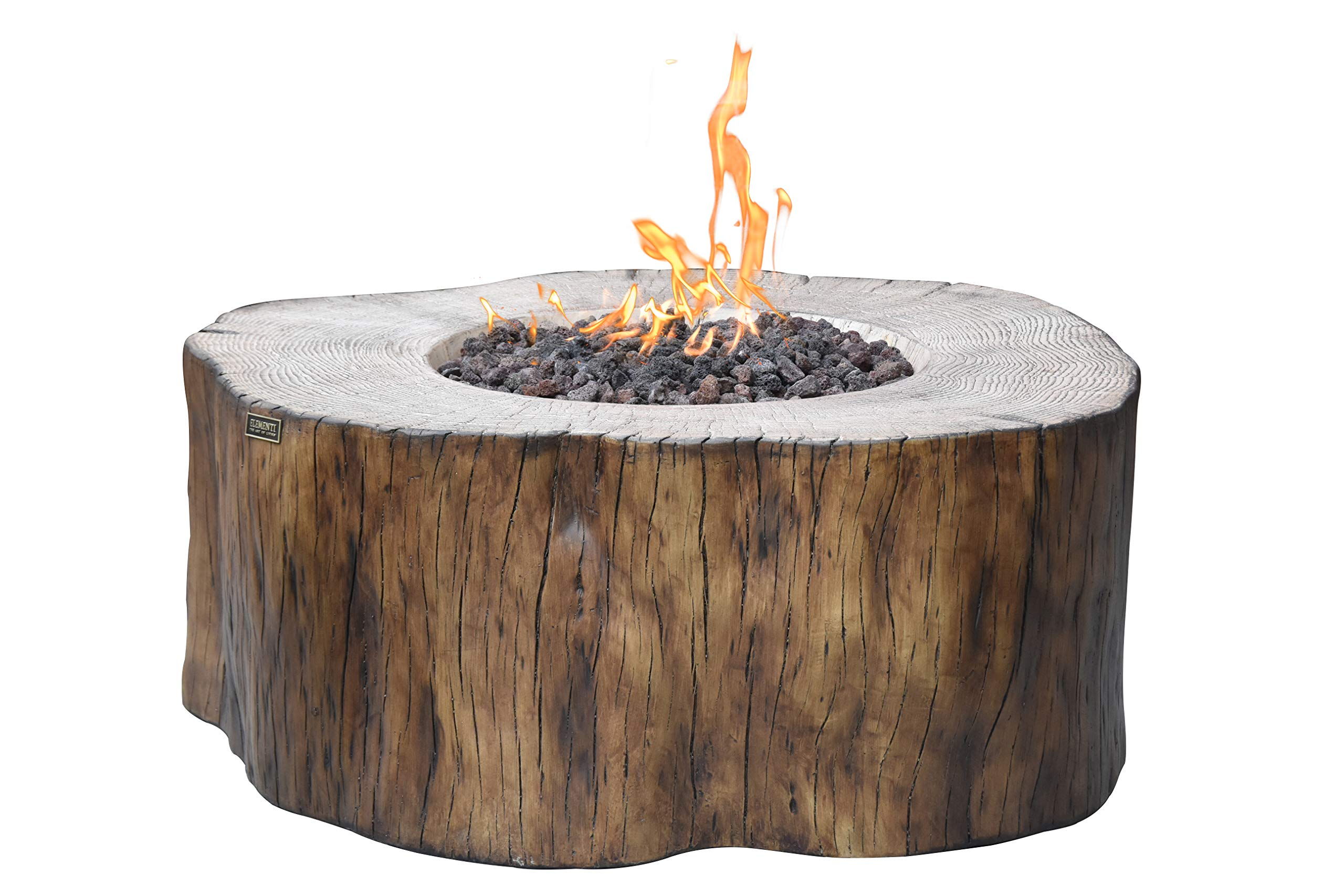 Elementi Outdoor Manchester Fire Pit Table 42 x 39 Inches Driftwood Durable Glass Reinforced Concrete Fireplace Includes Burner Lava Rock Canvas Cover - Liquid Propane by Elementi