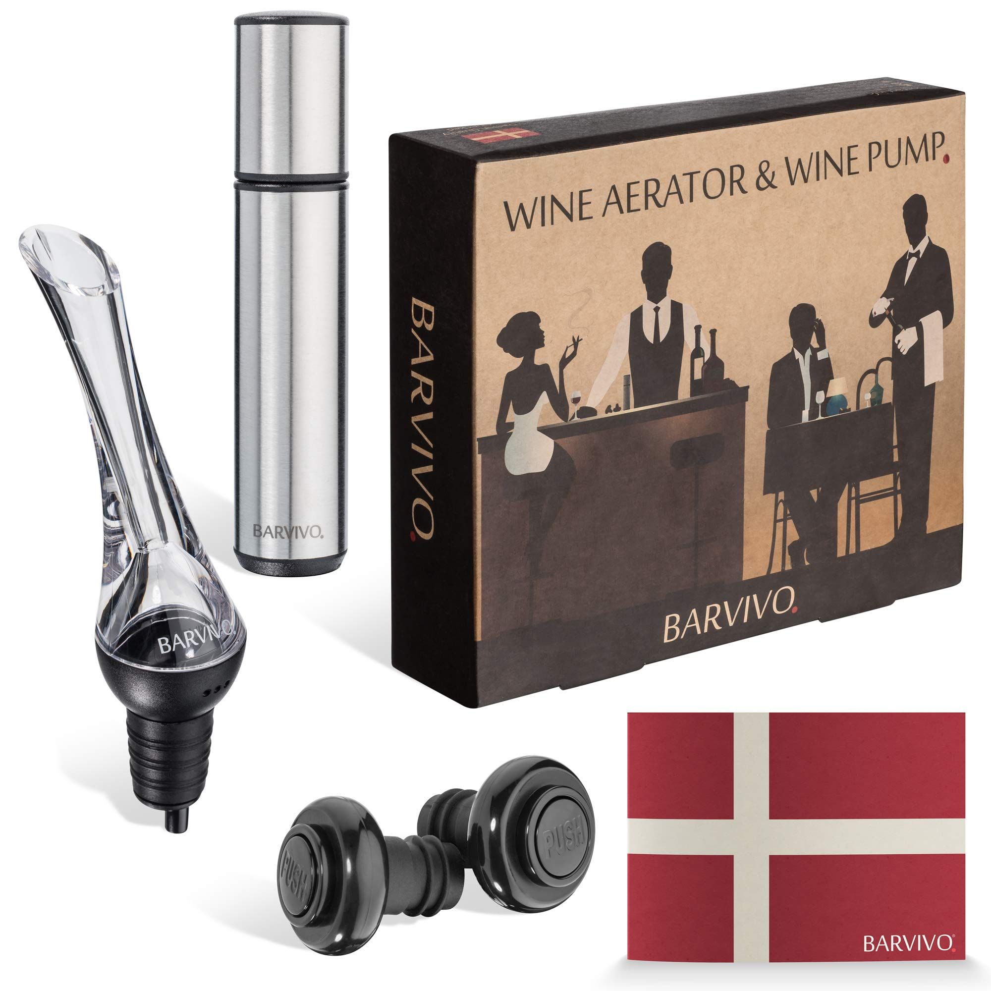 Wine Aerator and Wine Saver Pump with 2 Vacuum Bottle Stoppers by Barvivo - Pour, Aerate, Enjoy and Preserve Your Red Wine, it Will Taste 3 Times Better Than Originally and Stay at its Best for Days. by Barvivo