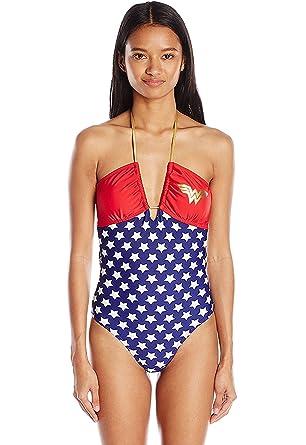 9571cc7a27 DC Comics Sexy Wonder Woman Convertible Bandeau One Piece at Amazon ...
