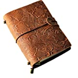 """Mcbazel Vintage Flowers Embossed Retro Travel Diary Brown Leather Journal Notebook – 5.1"""" x 3.5"""""""