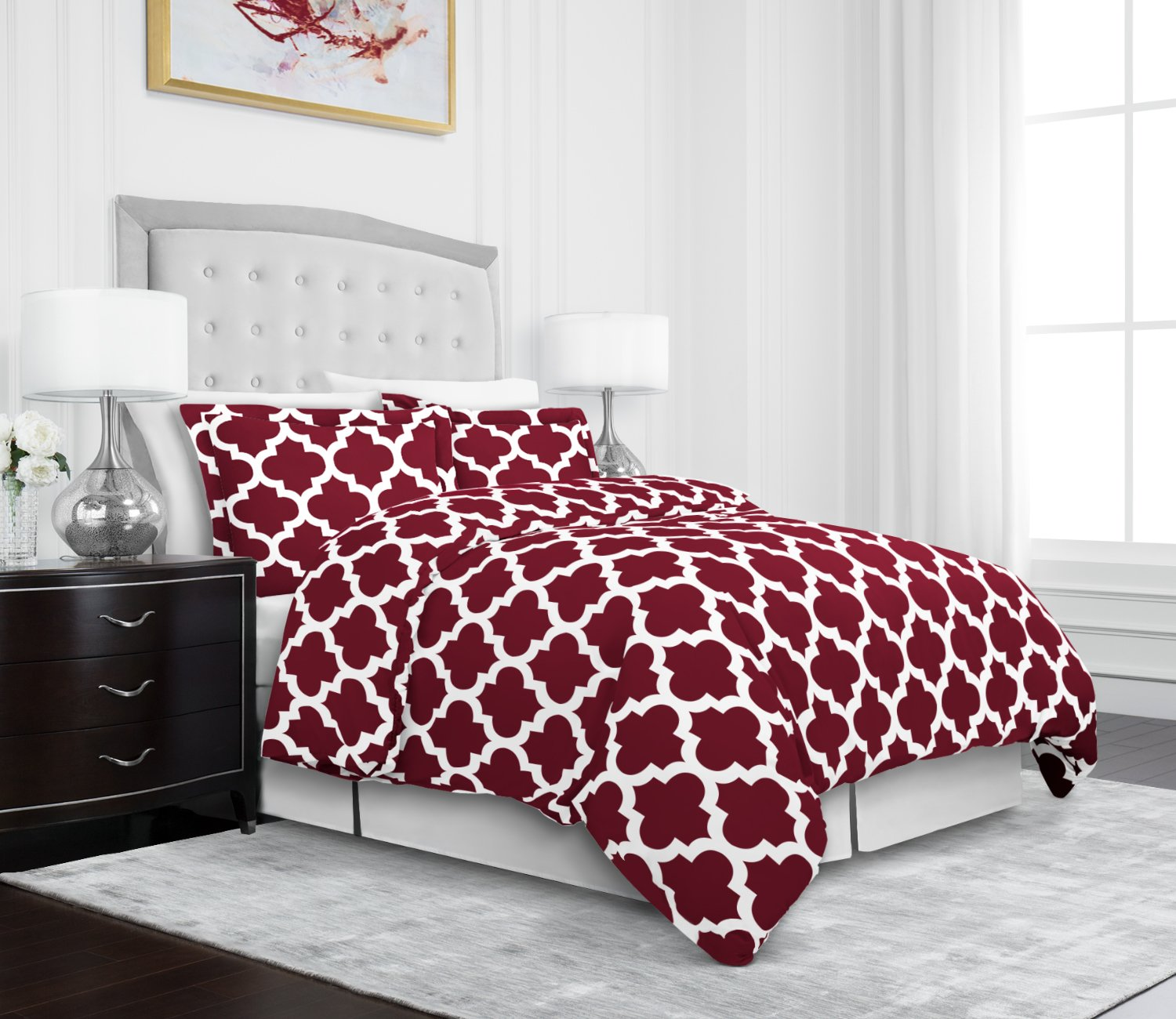 Egyptian Luxury Quatrefoil Duvet Cover Set - 3-Piece Ultra Soft Double Brushed Microfiber Printed Cover