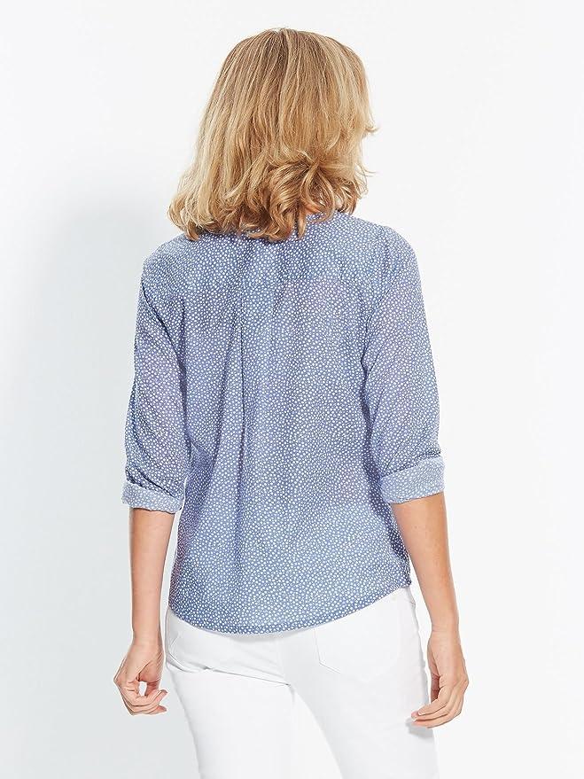 Balsamik - Blusa estampada en velo - Mujer - Size : 52 - Colour : Azul/Blanco: Amazon.es: Ropa y accesorios