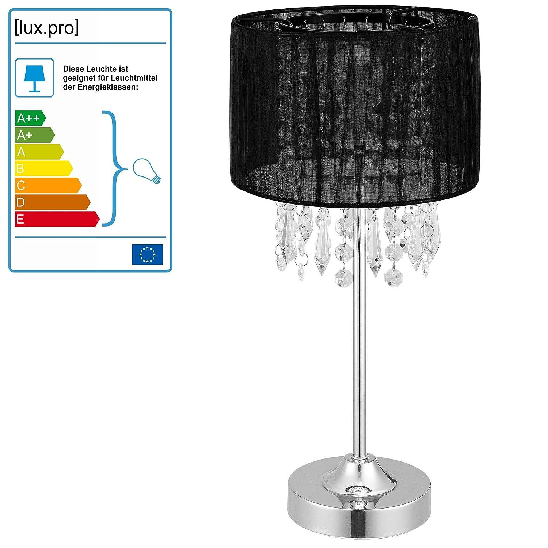 [lux.pro] Lámpara de mesa moderna (E14) - Negro - 40 cm - Modelo: Bellevue