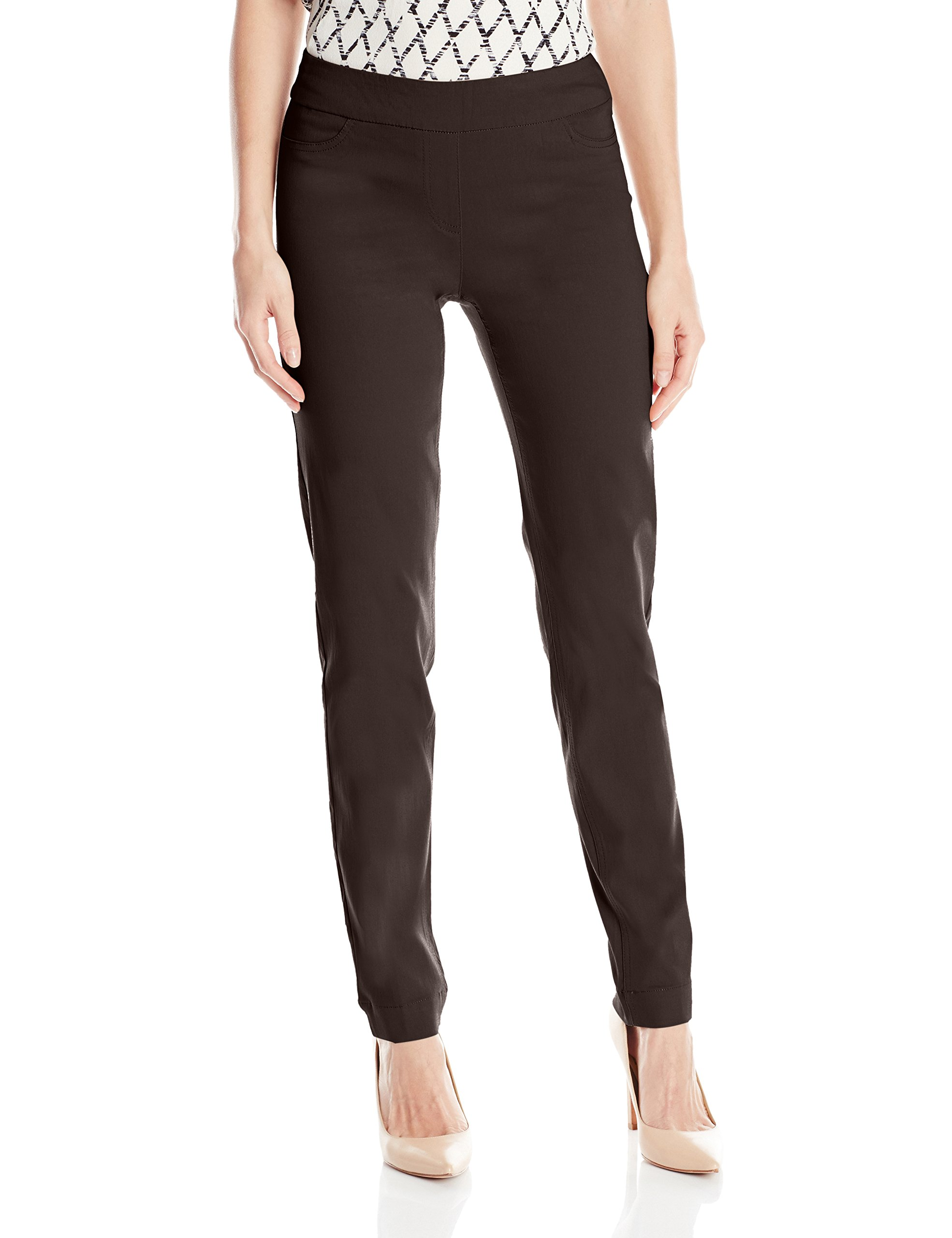 SLIM-SATION Women's Wide Band Regular Length Pull-On Straight Leg Pant with Tummy Control, Chocolate, 14