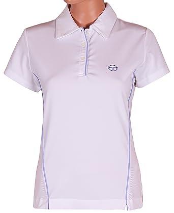 Sergio Tacchini Womens Oceania Short Sleeve White   Lilac Polo Shirt (Small) e78ee4f5d6
