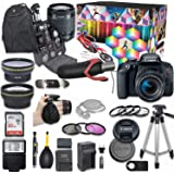 Canon EOS Rebel T7i DSLR Camera Deluxe Video Kit with Canon EF-S 18-55mm f/3.5-5.6 is STM Lens + Wide Angle Lens + 2X Telepho