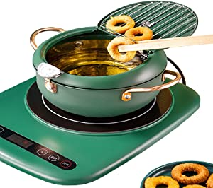 Tempura Deep Frying Pan, Nonstick Stainless Steel Japanese Deep Fryer Pot with Thermometer And Oil Drip Drainer Rack for Kitchen Cooking(Green),3200ML