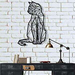 "Geometric Cat Metal Wall Art Metal Cat Decor Wall Silhouette Metal Wall Decor Home Decoration Living Room Decor (12"" W x 18"" H / 31x46 cm)"