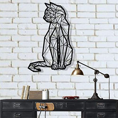 DEKADRON Geometric Cat Metal Wall Art Metal Cat Decor Wall Silhouette Metal Wall Decor Home Decoration Living Room Decor 15 W x 24 H 38×61 cm