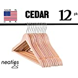 Natural American Cedar Wood Hangers w/ Notches and Non-Slip Bar for Forest-Fresh Closet, Highest Quality Cedar Hangers, Set of 12