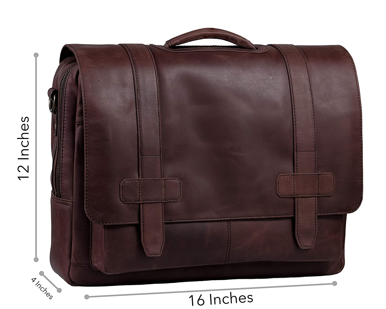 Amazon.com  Full-Grain Leather Messenger Laptop Bag Briefcase for ... 2de32dbc481a9