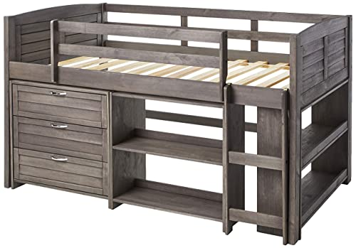 Donco Kids Louver Modular Low Loft Bed Combo B