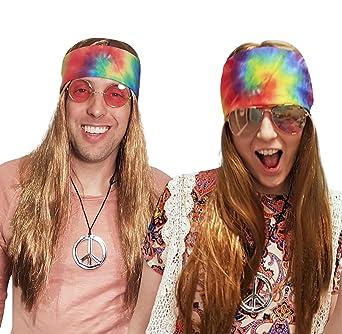 Amazon.com: Hippie peluca con Tie Dye Bandana 60s 70s HIPPY ...