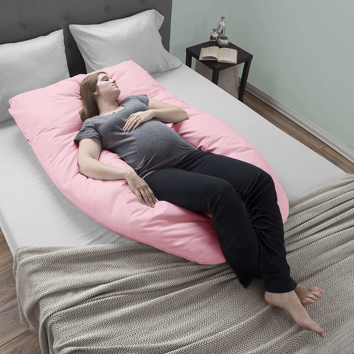 Full Body Maternity Pillow with Removable Cover and Contoured U-Shape Design for Back//Body Support by Lavish Home Collection Pregnancy Pillow Pink Trademark 64-PREGN-U-PNK