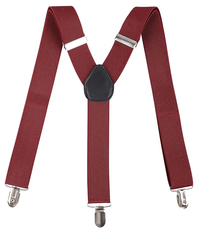 Livingston Unisex Vintage-Style Clip-On Adjustable Full Elastic Suspenders for Pants Skirts Shorts Rainbow Stripe