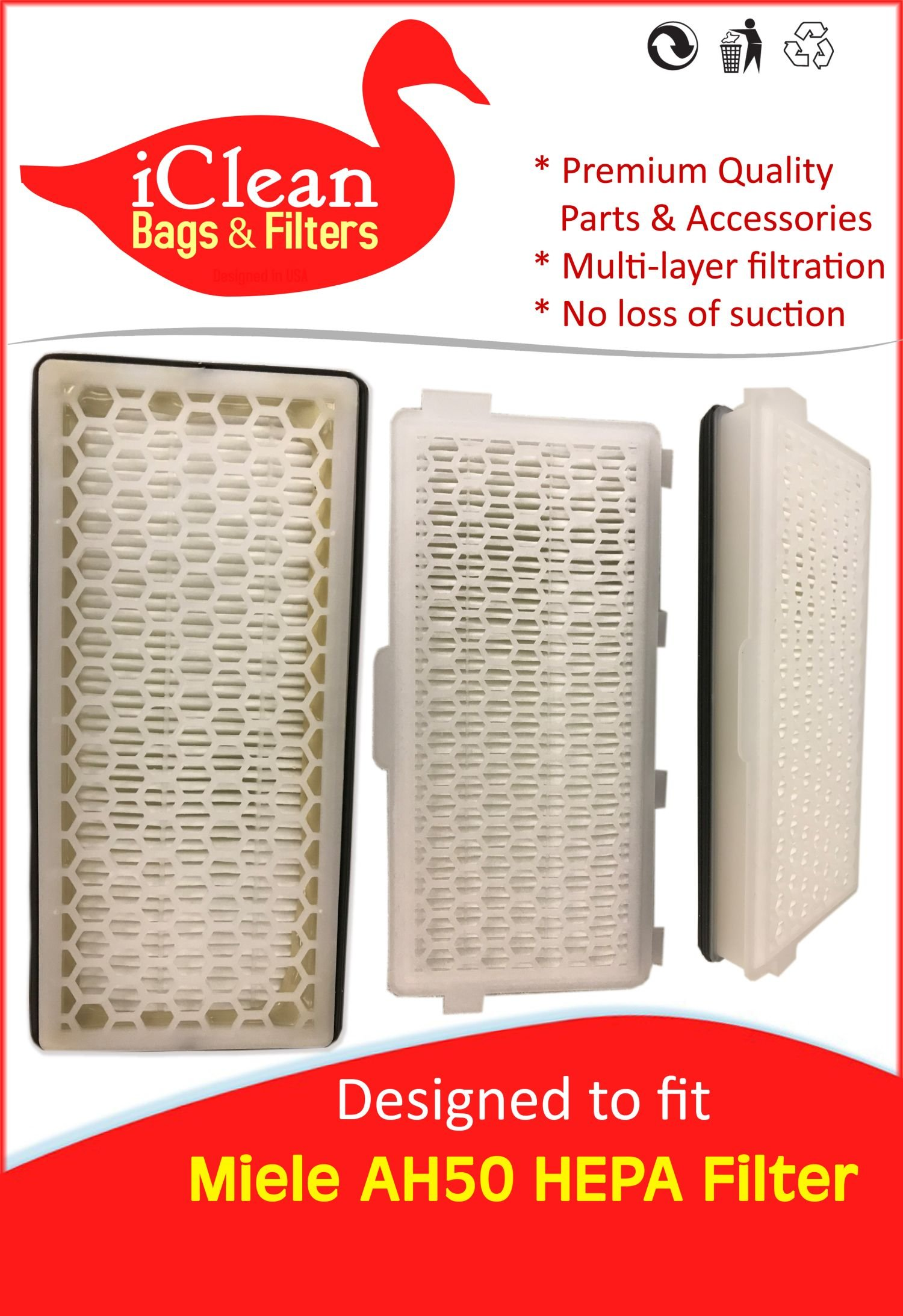 iClean Vacuums Miele HEPA SFAH 50 Filter -6 Filter Fits Many Canisters This Filter Produces Clean AIR Like The Original! Proven with Particle Scanner! Fits S4000/S5000/S6000/S8000/S6000/C2/S8000/C3 by iClean Vacuums