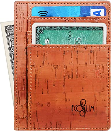 Slim Wallet RFID Front Pocket Minimalist Thin Credit Card Holder Cork Vegan