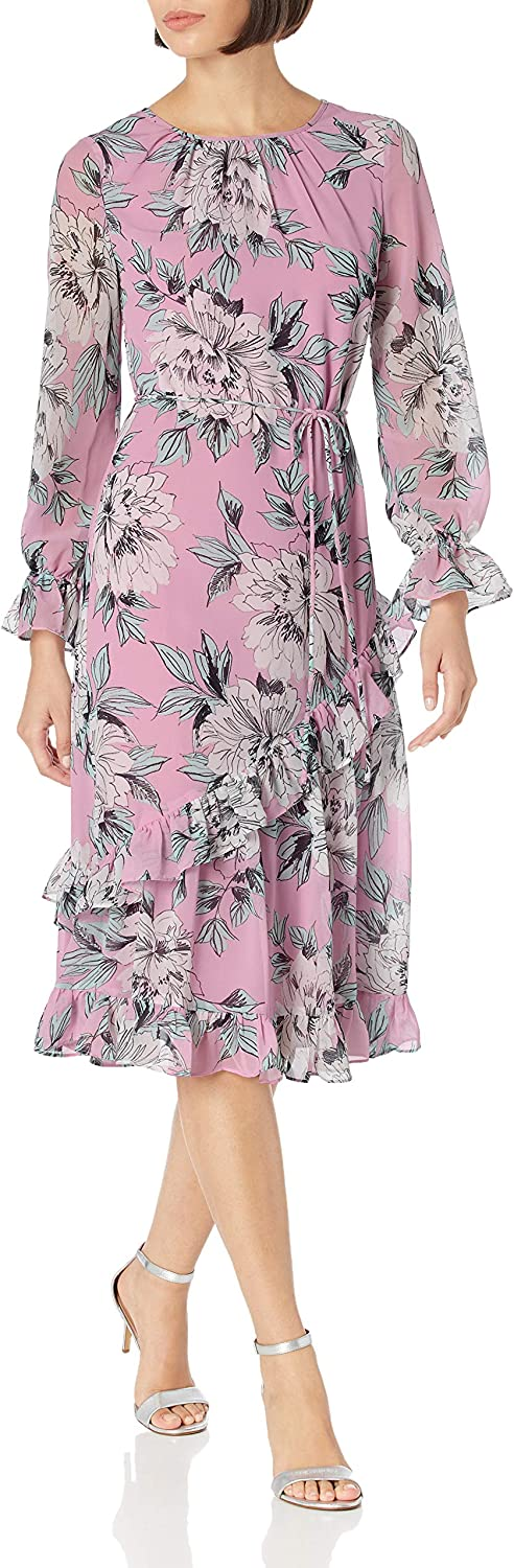 Vintage Style Dresses | Vintage Inspired Dresses Adrianna Papell Womens Floral Chiffon Ruffle Midi $101.57 AT vintagedancer.com