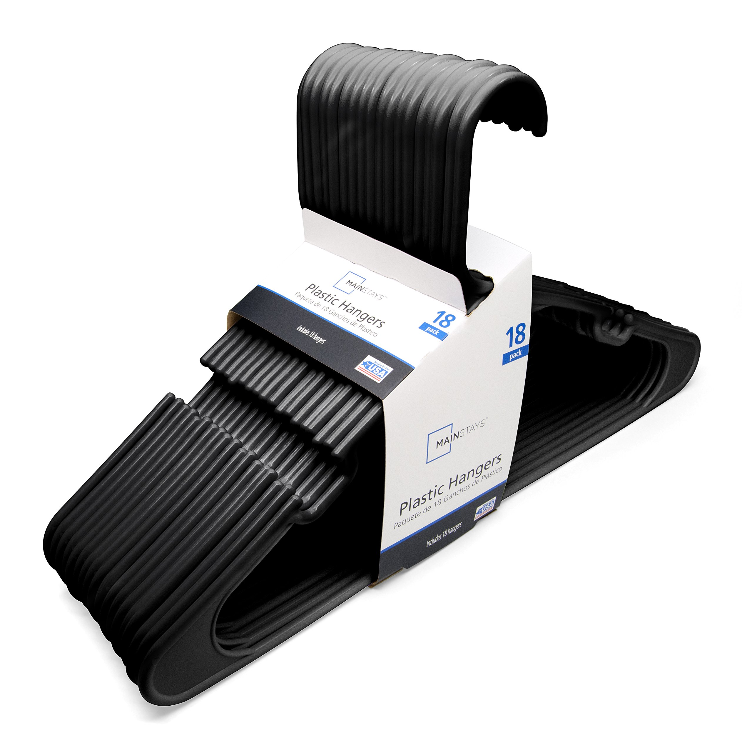 Mainstays 18-Pack Standard Plastic Hangers, Black by Mainstay