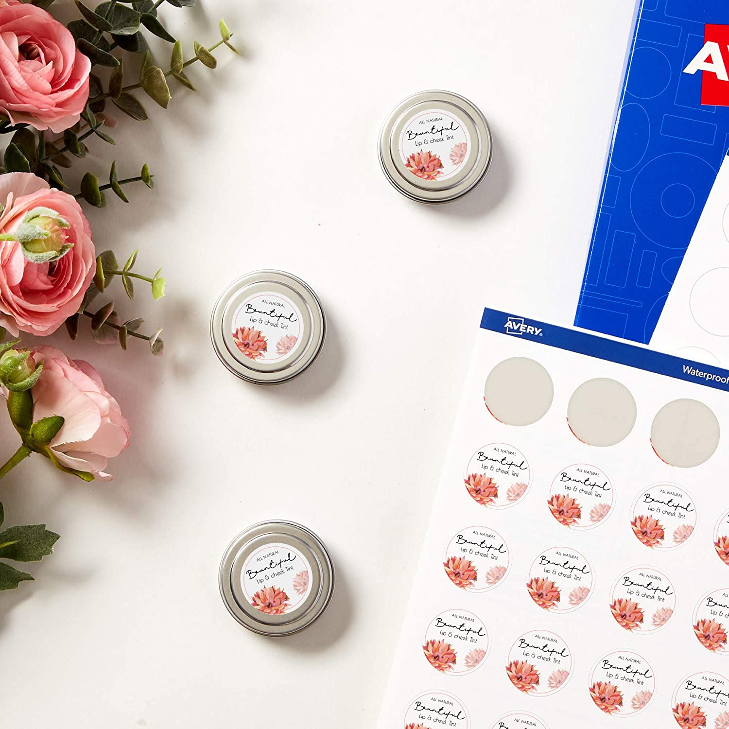 """Avery Waterproof Round Labels with Sure Feed, Print to The Edge, 1"""" Diameter, 240 White Labels (36579)"""