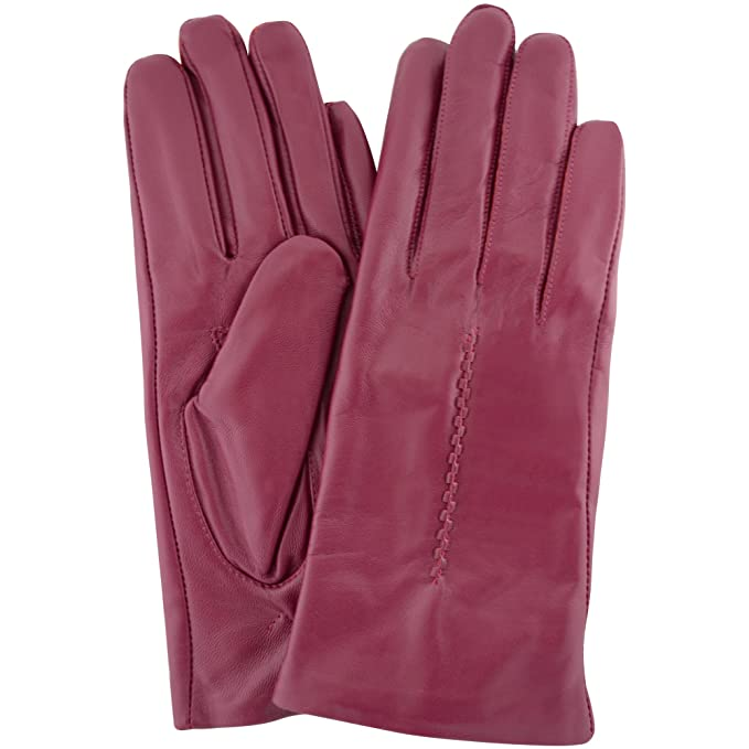 Mujer mantequilla suave fucsia guante de piel rosa con tejido de punto de diseño y forro
