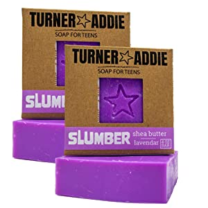 Turner and Addie Slumber Bar (2-PK) - Natural Soap for Teens, Lavender Essential Oil – Handmade in Maryland - Comes with Sticker - for Teens Tweens Kids