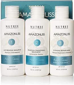 Nutree Professional Amazonliss Brazilian Keratin Hair Straightening/Smoothing Treatment Kit, 1.7 OZ, 3 Pack