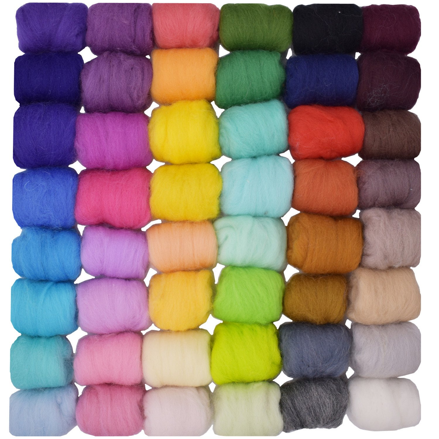 Wool Roving Loveself 50 Colors 5g/color for Needle Felting Hand Spinning DIY Craft Materials 4336906530