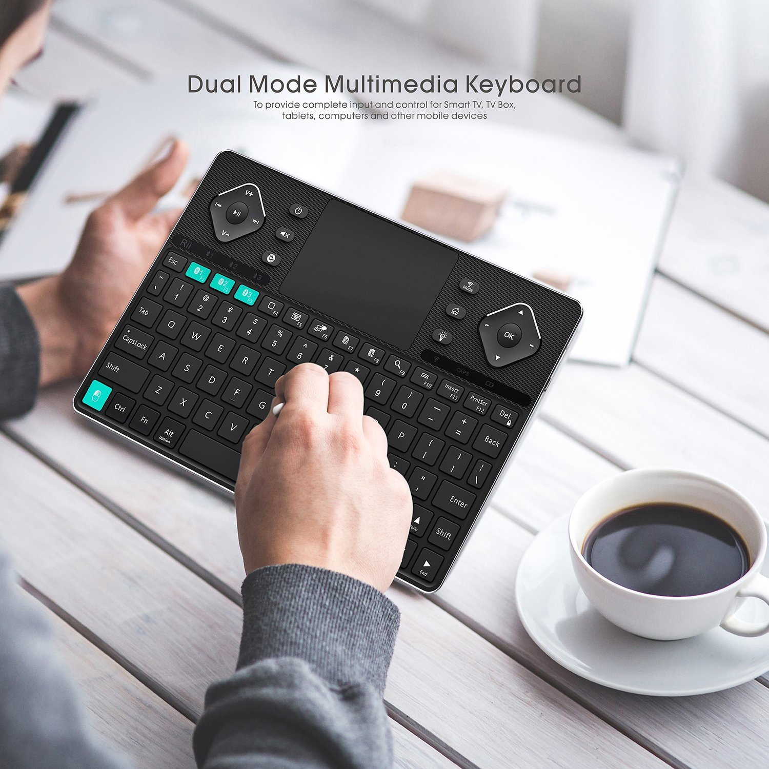 Rii (2018 New arrival) K16 Dual-mode Bluetooth &RF wireless Ultra Slim Rechargable Multimedia Backlit Keyboard With Touchpad Mouse And Aluminium Cover For PC,Tablets, Smart TV,Android TV Box,Windows by Rii (Image #4)