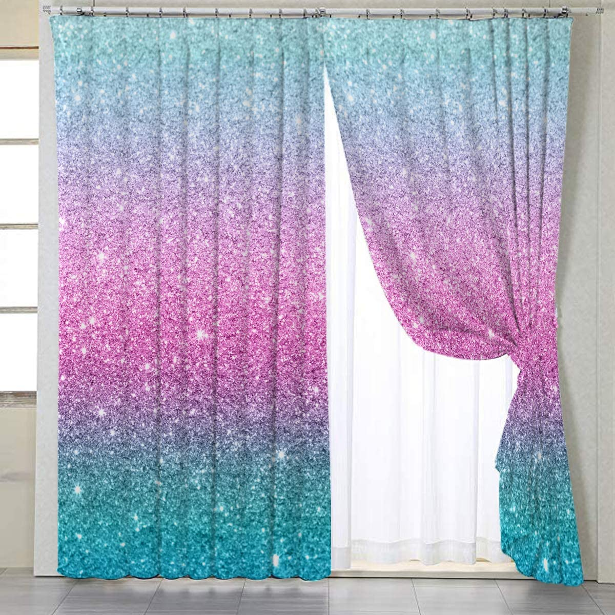 BlessLiving Colorful Glitter Window Curtains Girly Turquoise Bedroom  Curtains Blue Pink and Purple Curtains forLiving Room,1 Panel,42\