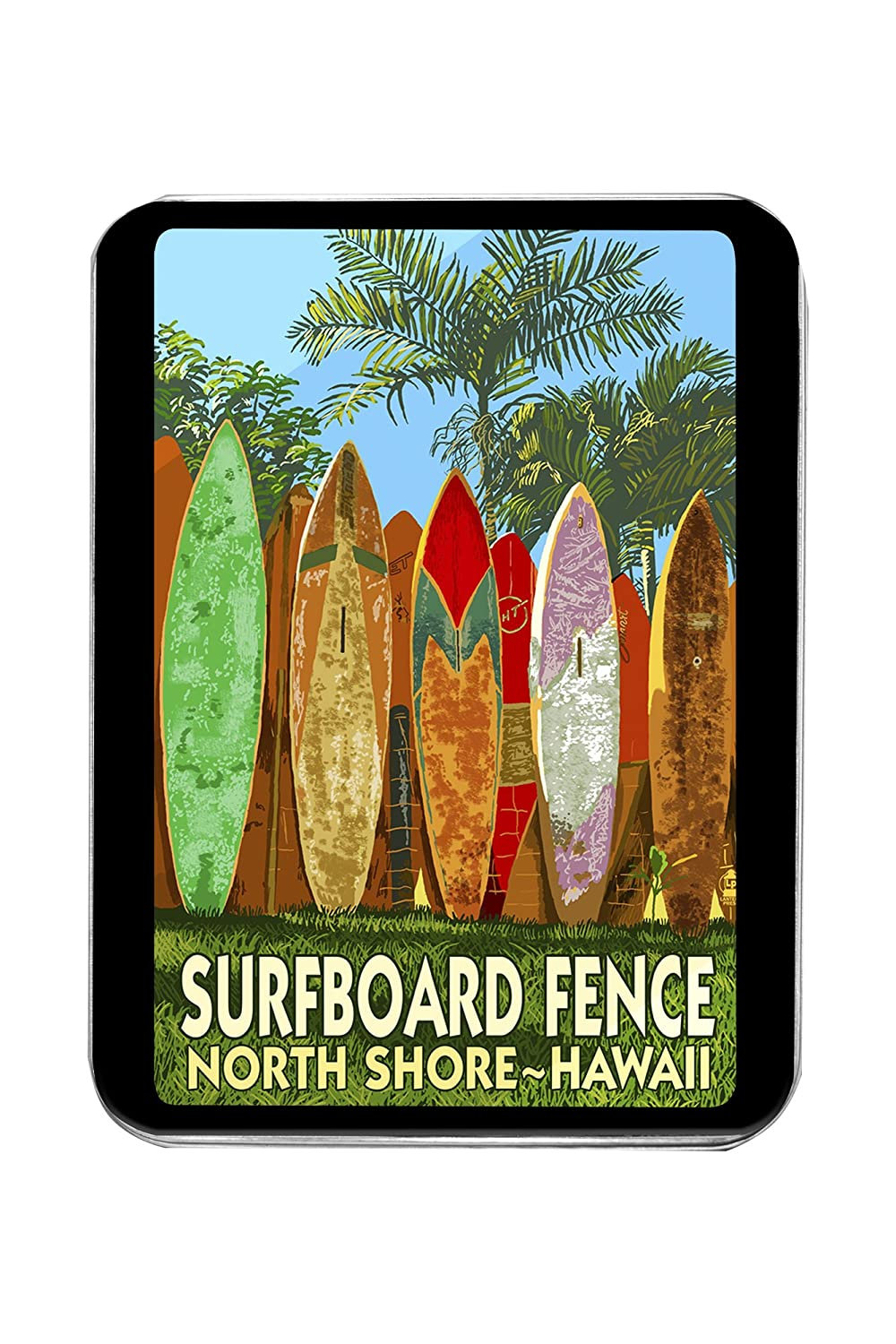 North Shore, Hawaii - Tabla de surf diseño de valla (lata): Amazon.es: Hogar