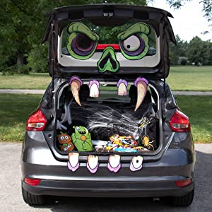 Mad Monster Face Trunk or Treat Halloween Car Decoration - Large, Scary Zombie Haunted House Home Decor & Funny Outdoor Party Decoration- 11 Easy Hang Pieces