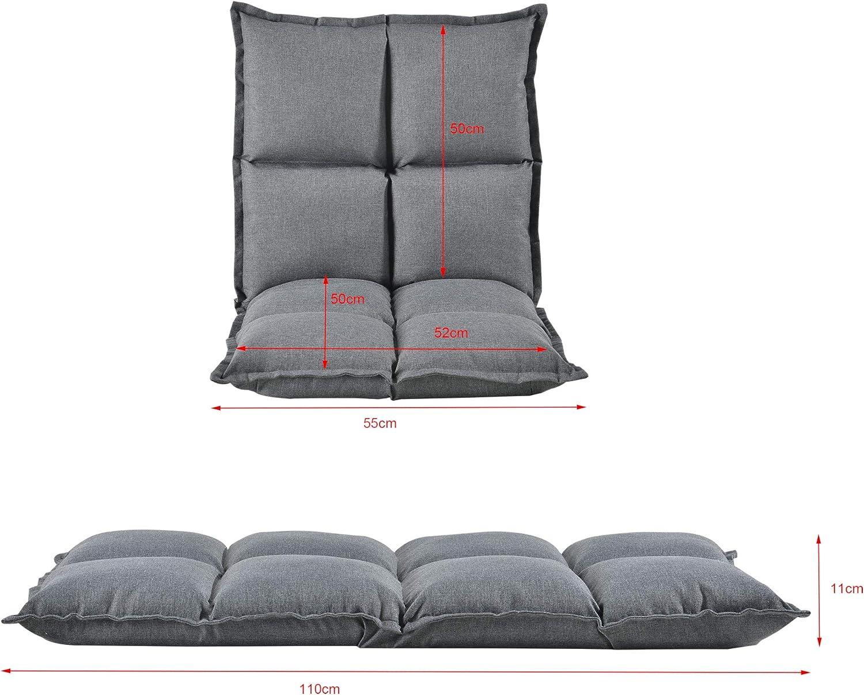 Si/ège de Sol Rembourr/é avec Dossier R/églable Chaise Assise Coussin Lit 100/% Polyester /Éponge M/étal Gris Clair 110 x 55 x 11 cm en.casa