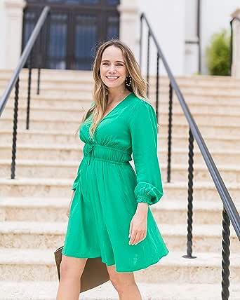The Drop Vestido Verde Esmeralda Cruzado por Delante por @graceatwood