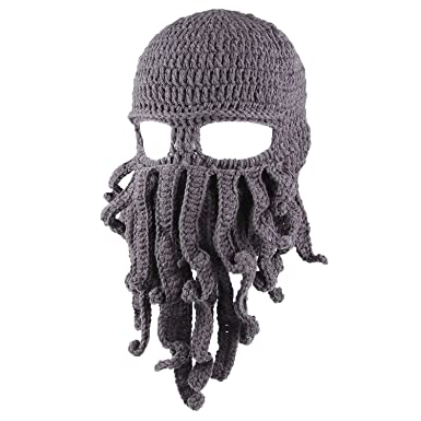 JT-Amigo Knit Beanie Winter Hat Wind Mask Octopus Cthulhu Gray ... e50bd8ef6a2