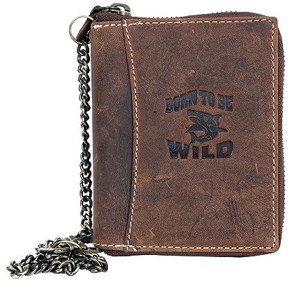 Billetera marrón Born to be wild de cuero naturales con tiburón con cadena de metal