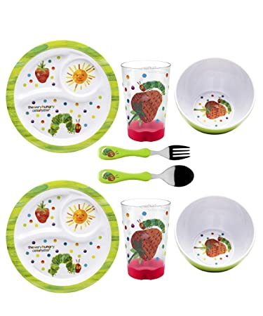 Zak Designs 8-Piece Very Hungry Caterpillar Dinnerware Set  sc 1 st  Amazon.com : hungry caterpillar plate set - pezcame.com