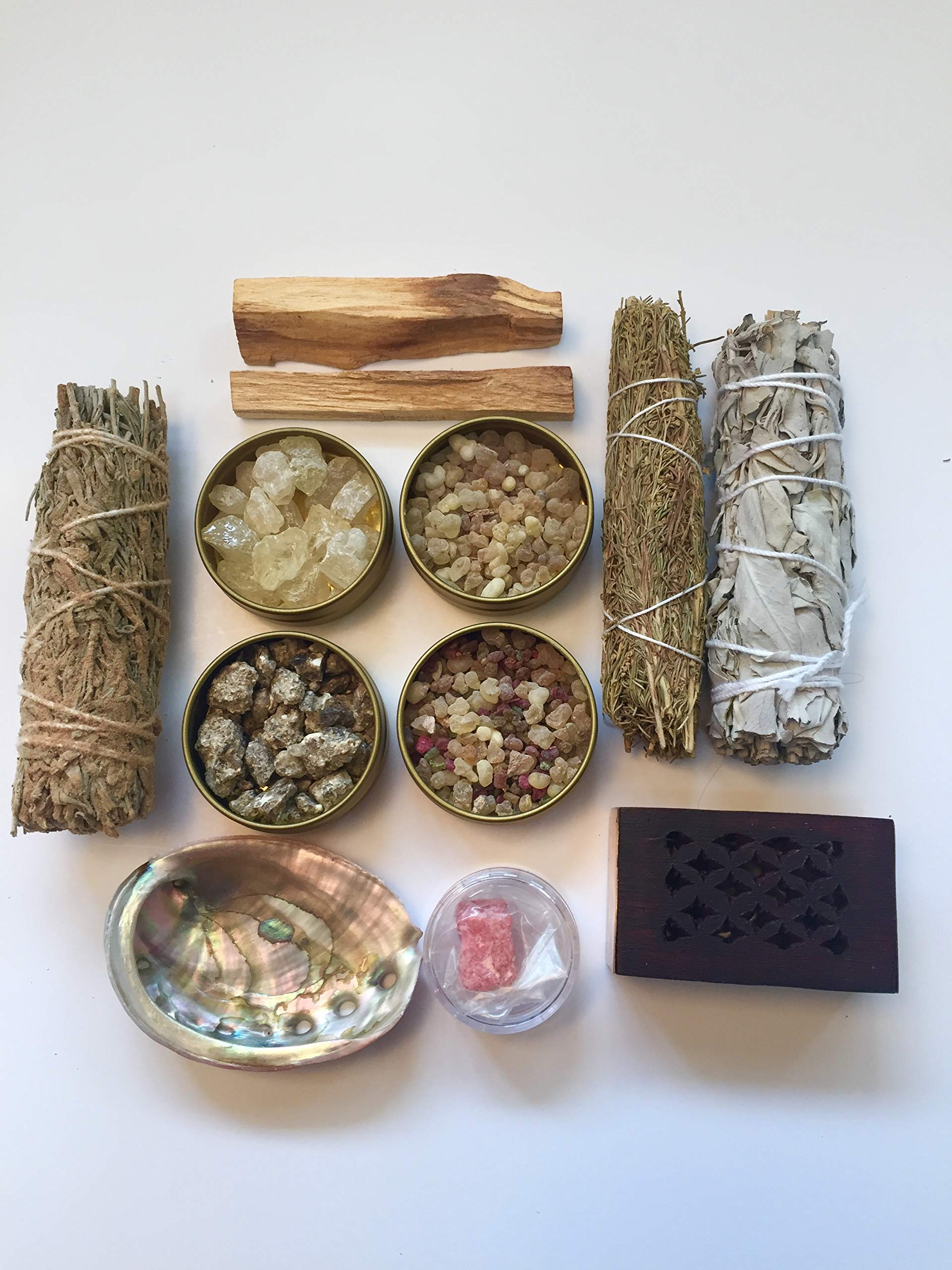 Resin Incense and Sage Smudges Variety Gift Kit includes, Amber Resin, Rose Resin, White Copal, Mystical Benzoin, Frankincense, White Sage Smudge, Desert Sage, Palo Santo Sticks and Abalone Shell by Sacred Scents For You (Image #6)