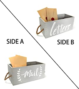 Rustic Wood Tabletop Decorative Mail Holder Box, 2 Sides - Farmhouse Mail Organizer for Countertop and desktop, Entryway home decor, Rustic Farmhouse Decor for Home and Office