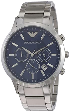 0a4848f21 Emporio Armani Men's Blue Dial Stainless Steel Band Watch - AR2448 ...
