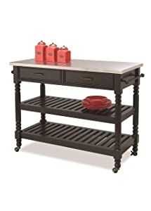 Home Styles Savanna Kitchen Cart, Black Finish