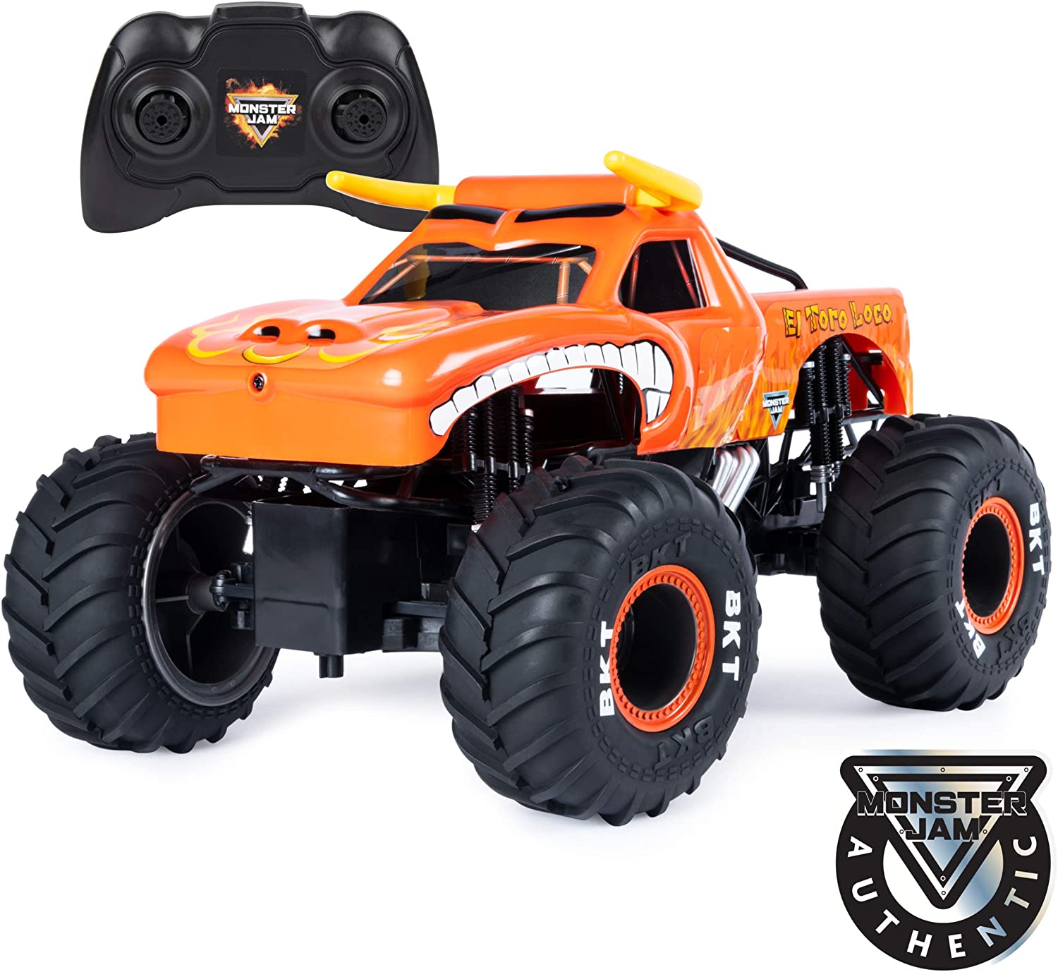 Amazon Com Monster Jam Official El Toro Loco Remote Control Monster Truck 1 15 Scale 2 4 Ghz Toys Games