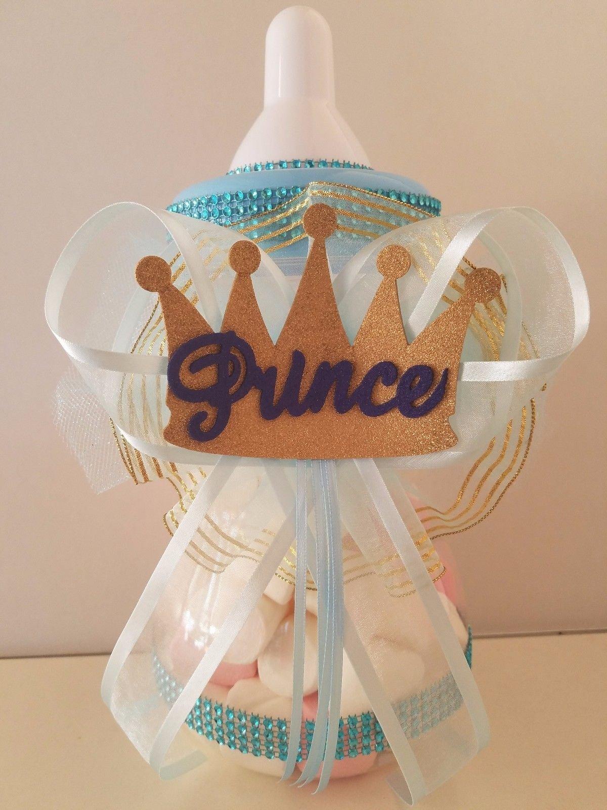 Baby Shower Prince Centerpiece Bottle Large 12'' Piggy Bank Boy Table Decorations