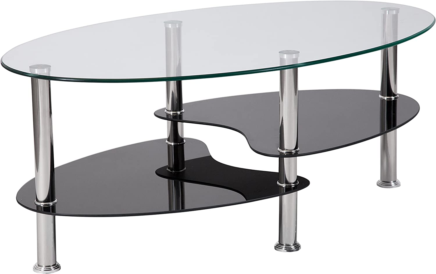 - Amazon.com: Flash Furniture Hampden Glass Coffee Table With Black