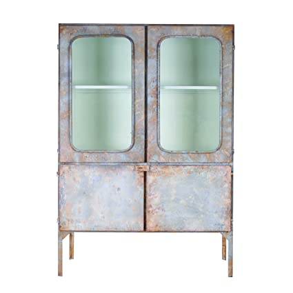 Creative Co Op DA3622 Reproduction Of Vintage Metal Pharmacy Cabinet With  Two Doors