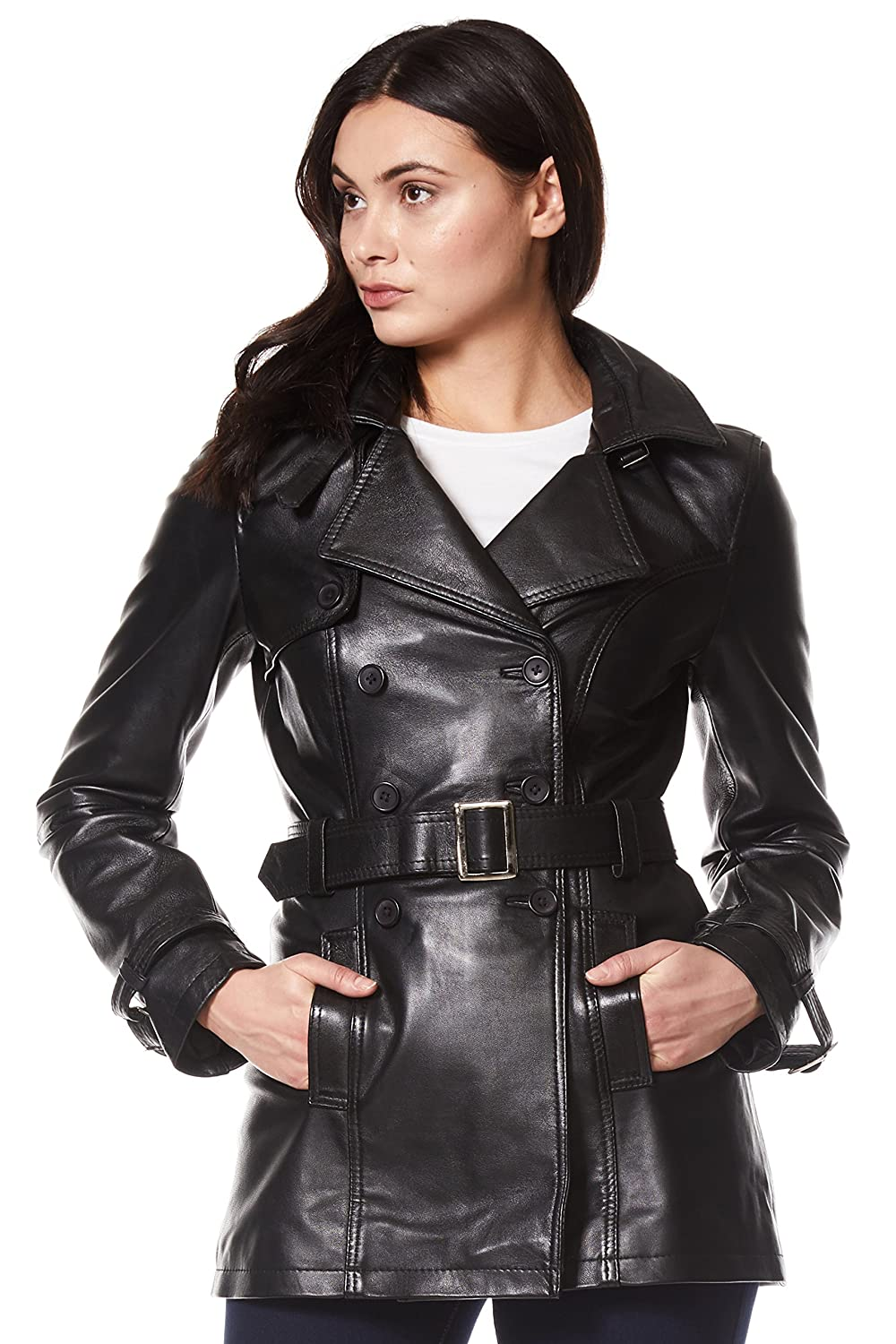 select for genuine purchase cheap wide selection of designs 'Trench' Ladies Black Classic Mid-Length Designer Real Leather Jacket Coat  1123