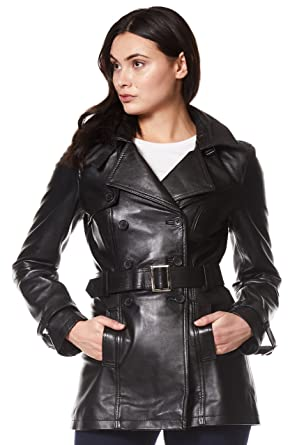 3fdff6c91 'Trench' Ladies Black Classic Mid-Length Designer Real Leather Jacket Coat  1123